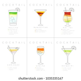 Set of flat cocktail posters mojito, manhattan, mai tai, kamikaze, spritz, daiquiri drawing on white background