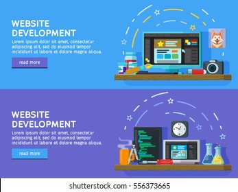 Set of flat color banners design concepts for web studio.  Programming and coding. Website development, Web design. Modern flat design for Web Banner, Website Element. Vector illustration