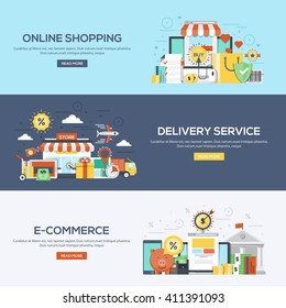 Set of flat color design web banners for Online Shopping, Delivery Services and E-Commerce.Vector