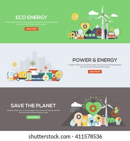 Set of flat color design web banners for Eco Energy, Power and Energy, and Save the Planet. Vector
