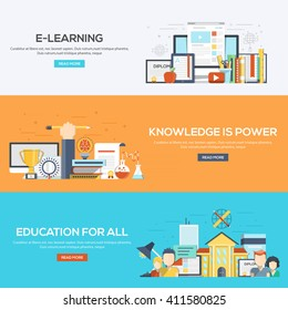 Set of flat color design web banners for E-Learning, Knowledge is Power and Education for all.Vector