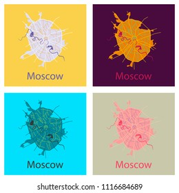 Set of Flat color map of Moscow. All objects are located on separate layers.