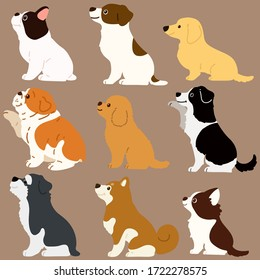 Set of flat colored cute dogs sitting in side view illustrations