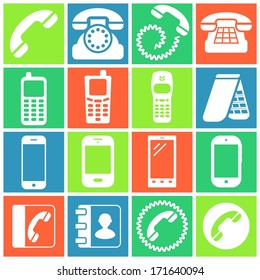 Set of flat colored simple icons (phone, telephone, communication), vector illustration