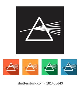 Set of flat colored simple icons (dispersion, dispersive prism, physics), vector