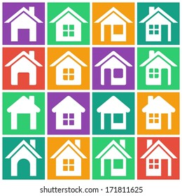 Set of flat colored simple web icons (home button, homepage, houses, real estate ), vector illustration