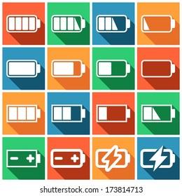 Set of flat colored simple web icons (charge level indicators, batteries, accumulators ), vector illustration