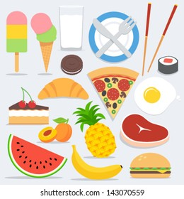 Set of flat colorful food icons