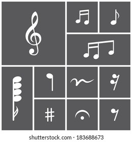 Set of flat dark simple icons (musical notes, printed music), vector