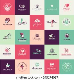 Set of flat design beauty icon
