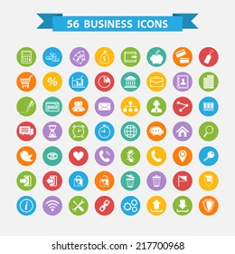 Set of flat design business concept icons