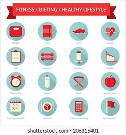 Set of flat design colored round vector set of icons for dieting, weight loss, fitness, healthy lifestyle