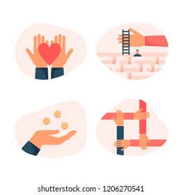 Set of flat design colorful vector icons for charity, donation, helping people, supporting non profit projects isolated on white