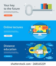 Set of flat design colorful vector illustration banners for education as a key to the future, online lectures, webinars, distance education, certificate programs. Isolated on bright background