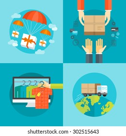 Set of flat design colorful vector illustration concepts for delivery service, e-commerce, online shopping, delivering gifts, receiving package from courier to customer isolated on bright background