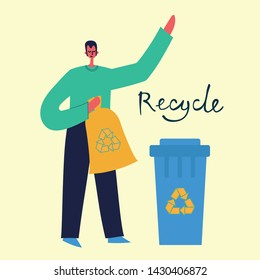 Set of flat design concept of ecology, think green, recycle and save the planet. Man is engaged in recycling garbage. Vector illustration in the flat style.