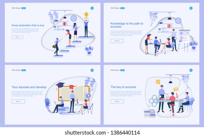 Set of flat design concept of education for website and landing page template.Online education, training and courses, learning, Vector illustration.