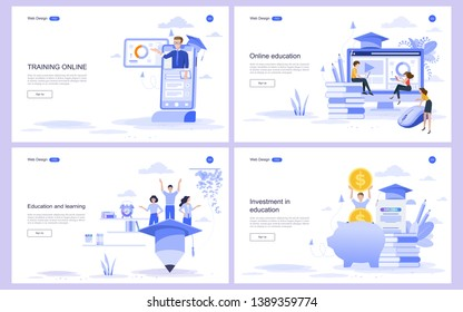 Set of flat design concept education for website and landing page template.Online education, training and courses, investment in education, Vector illustration.