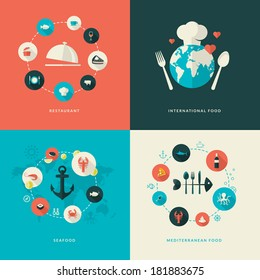 Set of flat design concept icons for restaurant. Icons for restaurant, international food, seafood, Mediterranean food.