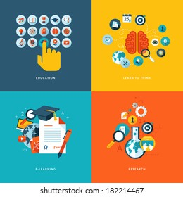 Set of flat design concept icons for web and mobile phone services and apps. Icons for education, learn to think, online learning and research.