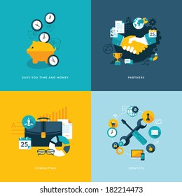 Set of flat design concept icons for business. Icons for save your time and money, partners, consulting and services.
