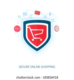 Set of flat design concept icons for secure online shopping. Teaser or splash screen illustration for safe the add to cart or payment transaction in e-commerce web site.