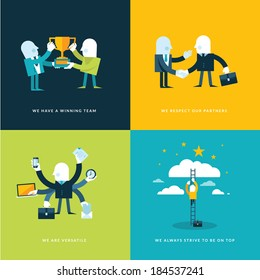 Set of flat design concept icons for business. Icons for winning team, partners, versatility and company objectives.
