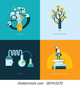 Set of flat design concept icons for web and mobile phone services and apps. Icons for learning, knowledge grows, test it, knowledge is power.