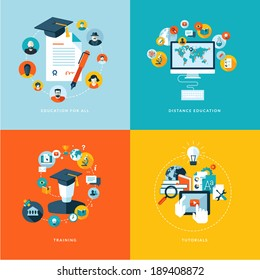 Set of flat design concept icons for education. Icons for education for all, distance education, training and tutorials