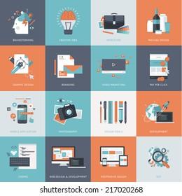 Set of flat design concept icons website development, graphic design, branding, seo, web and mobile apps development, marketing and e-commerce.