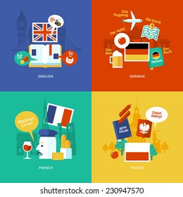 Set of flat design concept icons for foreign languages. Icons for english, german, french and polish.