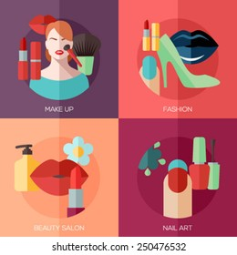 Set of flat design concept icons for make up, fashion, beauty salon, nail art. Concepts for web and mobile phone services and apps.