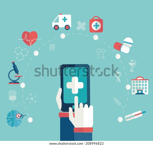 Set of flat design concept icons for web and mobile phone , medical  concept, infographic, flat style, vector.