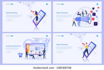 Set of flat design concept marketing for banner and website, landing page template. Content strategy and management,analysis, development Vector illustration.