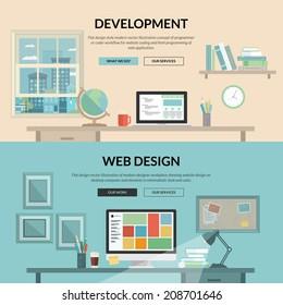 Set of flat design concept for web development. Programmer or coder workflow for website coding and html programming of web application, modern designer workplace showing design on desktop computer.