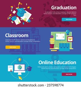 Set of flat design concepts for graduation, classroom, online education. Concepts for web banners and print materials.