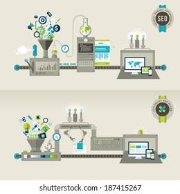 Set of flat design concepts for responsive web design and SEO. Concepts for web banners and printed materials.