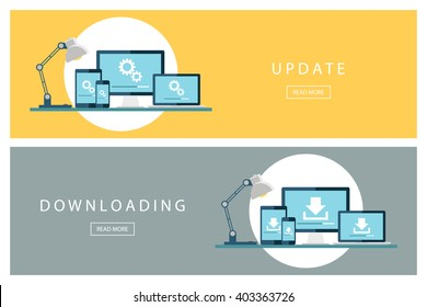 Set of flat design concepts Update and Downloading technology. Install new software, operating system. Banners for web design, marketing and promotion. Presentation templates. Vector illustration.