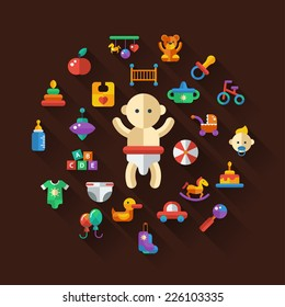 Set of flat design cute baby vector icons
