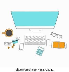 Set of flat design for desktop. Line icons flat design elements. Modern vector pictogram