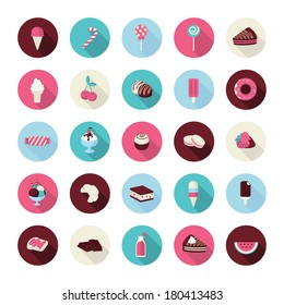 Set of flat design dessert icons. Icons of cakes, pastry, sweet bakery, cupcake, ice cream, fruits, candies, chocolate and lollipops for restaurants, cafes, cake manufacturer, online shop, events.
