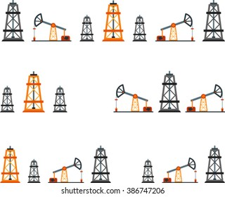 Set of flat design element of oil industry