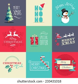 Set of flat design elements for Christmas. Ideal for greeting card, poster and web template. EPS10 vector file organized in layers for easy editing.