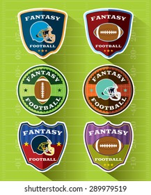 A set of flat design Fantasy American Football badges and emblems. Vector EPS 10. EPS file is layered.