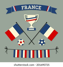 A set of flat design France football icons and symbols in blue, white and red.