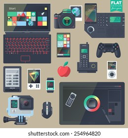 Set of flat design gadgets, electronic devices, mobile phone communications. Design items for business, website design app, promotional materials, info graphics, web and mobile phone services.