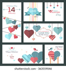 Set of flat design Happy Valentine Day greeting cards and banners. Can be used for websites, badges, printed materials, greeting cards, gift tags, labels, stickers,promotional materials