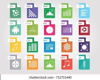 Set of flat design icons for Business, SEO, disign and Social media marketing, file tipe icon