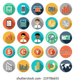 Set of flat design icons with financial infographic. vector illustration