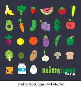Set of flat design icons for healthy food for kids.